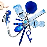 Self Defense Keychain Set for Women and Kids, 10 Pcs Safety Keychain Accessories, with Safe Sound Personal Alarm-Blue