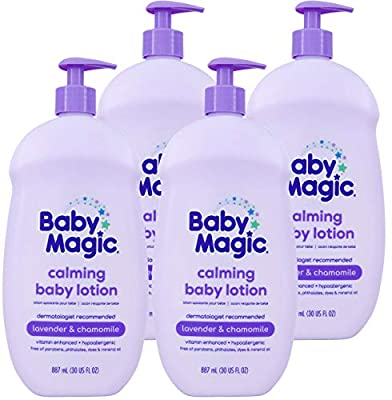 Baby Magic Calming Lotion 30oz Pack of Free of Parabens Phthalates Sulfates and Dyes, Lavender & Chamomile, 4 Count by AmazonUs/NABU7