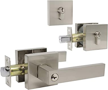 Front Door Entry Lever with Double Cylinder Deadbolts Combination Set, Satin Nickel Finish, Keyed Alike Exterior Entrance Lever Door Handle Set for Front/Back Gate Door, Pack of 1
