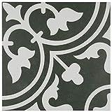 SomerTile FCD10ARB Arte Black Encaustic Porcelain Floor and Wall Tile, 9.75 x 9.75, 16 Pieces
