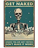 Funny Sleketon Poster Wash Get Naked Skeleton Wall Art Hanging Poster Painting Canvas Paper Photography Abstract Watercolor Home Decor, Bathroom Decor No Frame (12'x18')