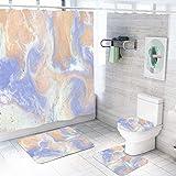 MQWEMJ Juego de 4 Cortinas de Ducha, Ola Azul Amarillo Blanco con alfombras Antideslizantes, Tapa de Inodoro y Alfombrilla de baño, Cortina de Ducha, Tela Impermeable 180×200 cm