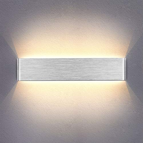 Yafido Wandleuchte Innen LED 40CM Wandlampe Up Down Wandbeleuchtung 14W Warmweiß Wandlicht Silber gebürstet für Schlafzimmer Wohnzimmer Bad Flur Treppen 230V