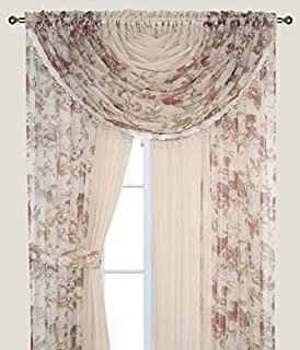 Complete Window Sheer Voile Curtain Panel Set with 4 Attached Panels (55x84 Each) and 2 Attached Valances with Beads and 2 Tiebacks - Easy Installation - Multicolor Floral Rose and Solid Beige
