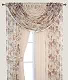 Complete Window Sheer Voile Curtain Panel Set with 4 Attached Panels (55x84' Each) and 2 attached Valances with Beads and 2 Tiebacks - Easy Installation - Multicolor Floral Rose and Solid Beige