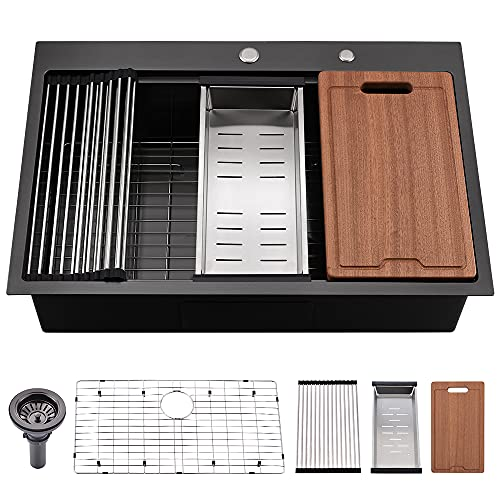 33 Black Stainless Steel Kitchen Sink Drop In-Bokaiya 33x22 Inch Topmount Drop In Workstation Sink 16 Gauge Gunmetal Matte Black Single Bowl Kitchen Sink with Cutting Board& Strainer