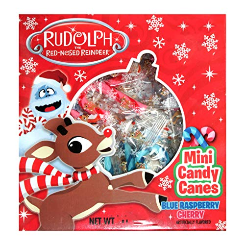Flix Candy (1) Box Rudolph the Red Nosed Reindeer Candy Canes - 20 Individually Wrapped Pieces Holiday Candy Per Box - Net Wt. 2.82 oz