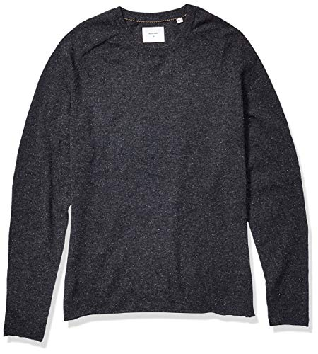 Billy Reid Men's Cashmere Silk Saddle Crew Sweater with Leather Elbow Patches, Black, X-Large