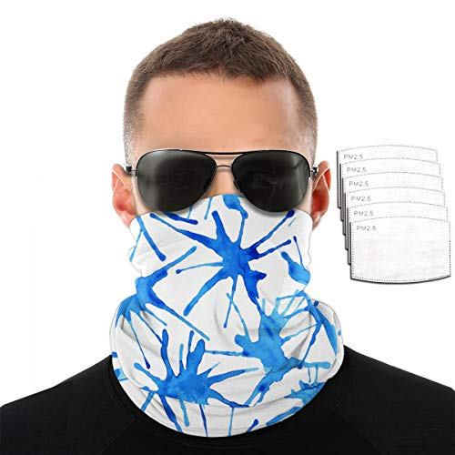 ZZFENG Watercolor Splash Blue Neck Gaiter Mouth Cover Bandana with 6activated Carbon Filters Piece