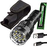 Nitecore TM9K 9500 Lumen USB-C Rechargeable LED Flashlight with 5000mah battery and EdisonBright USB powered LED reading light bundle