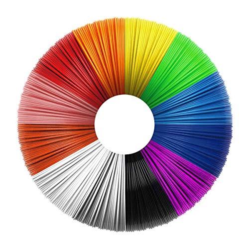 Uzone Filamento 3D Penna, Filamento PLA 12 Colori, 10 Piedi per Colore 1.75mm Diameter, Niente Odore, Eco-Compatibile, Adatto per Adulti, Nambini, Amanti della Stampa 3D