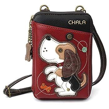 Chala Wallet Crossbody Cell Phone Purse-Women Faux Leather Multicolor Handbag with Adjustable Strap  Dog Gen II - Burgundy