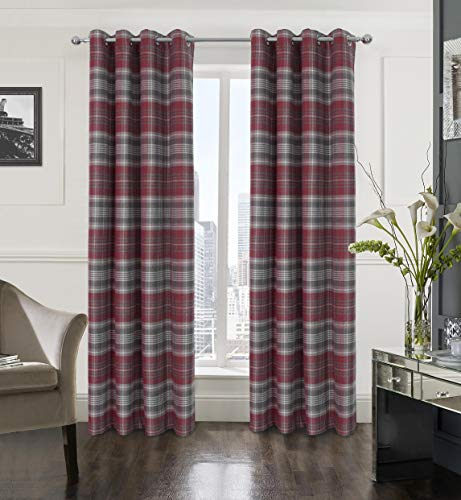 Alexandra Cole Plaid Textured Grommet Curtain Set of Two Panels for Bedroom Living Room Grey and Red 54X95