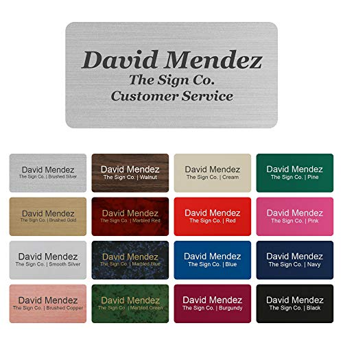 "Personalized Name tag ID Badge - Trophy Picture Label with Magnetic or pin Backing. Customize - 1.5"" x 3"" - Round Corners - 3 Lines"