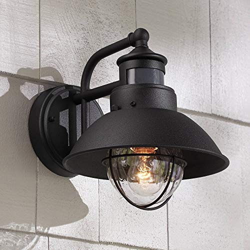 "Oberlin 9""H Black Dusk to Dawn Motion Sensor Outdoor Light"