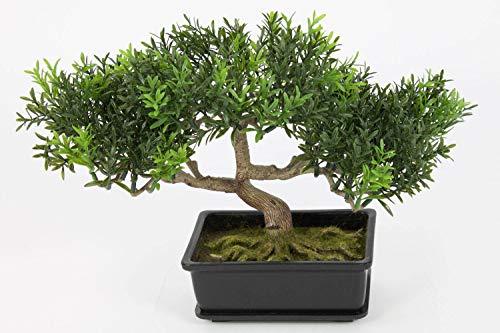 artplants.de Bonsái Artificial en Maceta, 100 Ramas con Hojas de té, 25cm - Bonsái Decorativo - Bonsai sintético