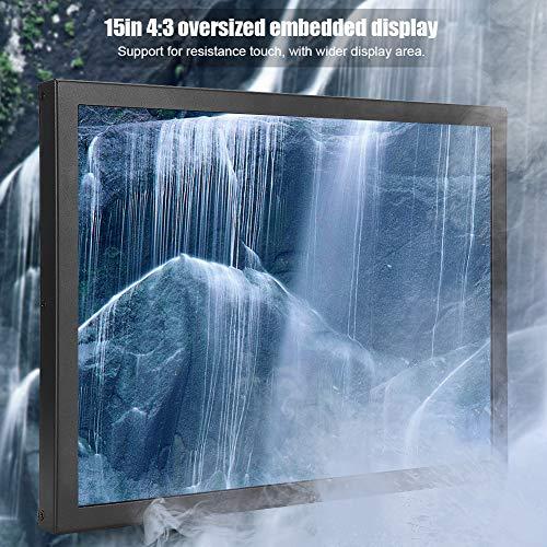 Geïntegreerde monitor 1024x768 4: 3 contrast 800: 1 - touchscreen met weerstand ondersteunt aanraakpunten, ingebouwde monitor met meerdere interfaces HDMI/VGA/AV/BNC/USB voor pc-tv CCTV(EU-stekker)