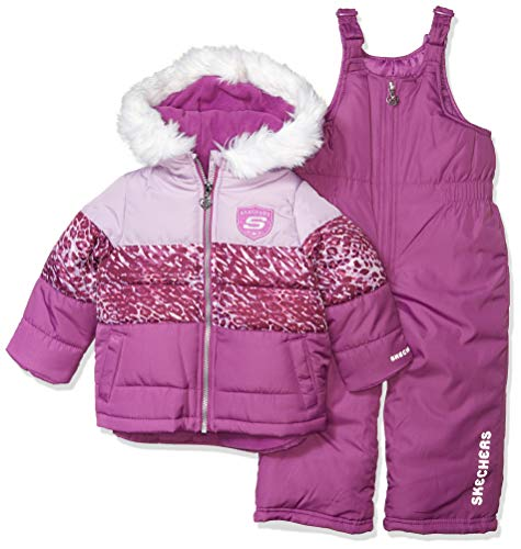 Skechers Girls' Toddler 2-Piece Heavyweight Snowsuit, Shy Violet Purple Leopard, 4T