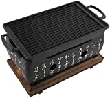 Nologo Victool Indoor BBQ <span class='highlight'>Charcoal</span> Grill, Barbecue Table Grill with <span class='highlight'>Charcoal</span>/Alcohol, Portable Tabletop Japanese BBQ Grill Indoor/Outdoor with Solid Wood Tray