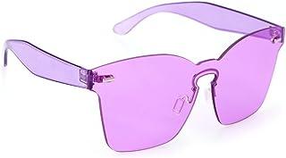 OULII Gafas de Sol sin Marco de Color Caramelo de Moda Una Pieza de Espejo Unisex (Violeta)
