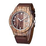 Leyue Reloj de Madera con Correa de Cuero Genuino Zebra Wood Cuarzo Reloj de Pulsera analógico Ligero Casual para Hombres y Mujeres en Caja de Regalo (Color (Color : A)