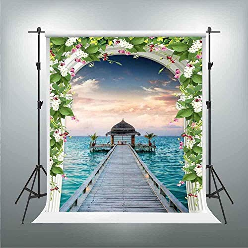 HD Wedding Backdrop 5X7ft Flower Arched Door Long Wooden Bridge Gazebo Photography Backdrops for Pictures Themed Party Background Photo Booth Studio Props LXGE334