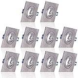 10x MAXKOMFORT Einbaustrahler Bad IP44 mit GU10 Fassung ECKIG alu gebürstet Einbauspot Einbauleuchte Rahmen Rostfrei Deckenspot Strahler Spot 5102