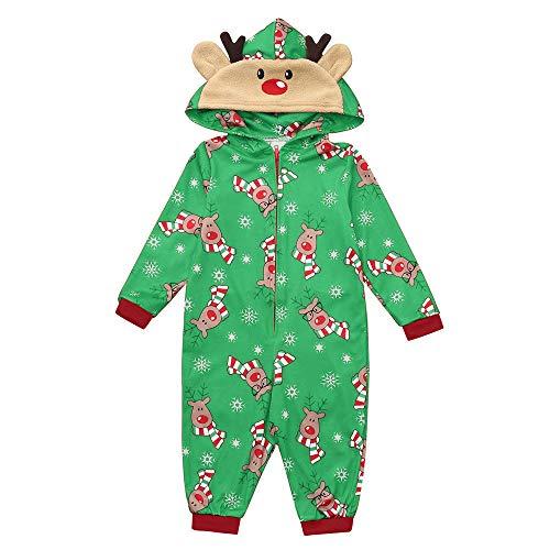 Dasongff Weihnachten Familie Pyjamas Outfit Schlafoverall Jumpsuit Einteiler Schlafanzug Warm Weihnachtspyjama Fun-Nachtwäsche Damen Herren Baby Säugling Family Kleidung Strampler Overall