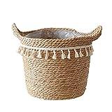 Cesta tejida para plantas hecha a mano con borla de paja, macramé, contenedor de lavandería, decoración para el hogar y el jardín
