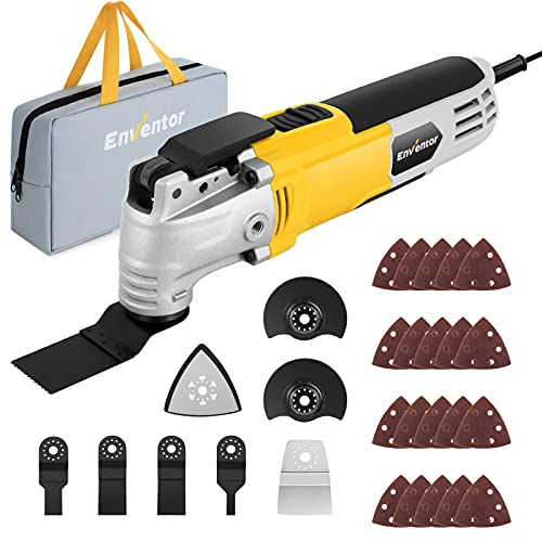 Oscillating Tool, ENVENTOR 6 Variable Speeds & 3° Oscillating Angle, 2.5-Amp Oscillating Multitool Saw for Cutting Wood Nail/Scraping/Sanding With 28pcs Accessories, Oscillating multi tools