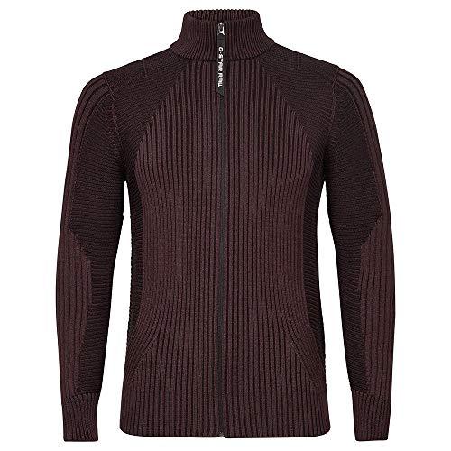 G-STAR RAW Mens Plated 3D Biker Zip Through Cardigan Sweater, dk fig/dk Black C259-B785, L