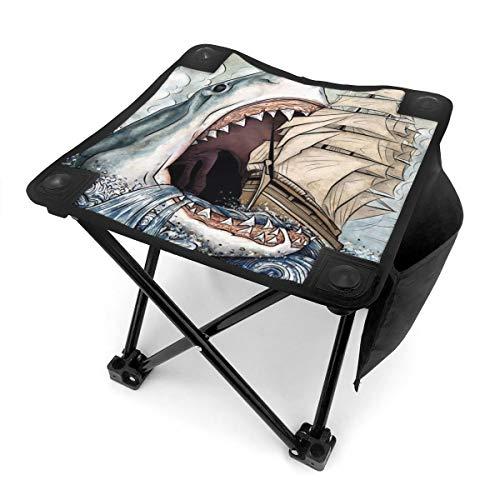 BTRWAPS Cartoon Shark Eating Ship in Ocean Sea Portable Folding Stool,Mini Portable Lightweight Outdoor Folding Chair with Carry Bag