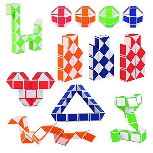 12 Stücke 24 Blöcke Mini Magische Schlangen Würfel, Magische Geschwindigkeit Würfel, Mini Twist Puzzle Kunststoff Spielzeug für Kinder und Erwachsene (Zufällige Farbe)