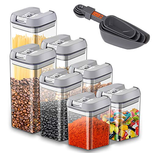 Airtight Food Storage Container,JOLVVN Durable Plastic BPA Free Dry Cereal Food Container Sets for Storage with Lock Lids to Keep Food Fresh (7Pack) (Grey-7 Pack)