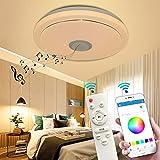 Lámpara de Techo LED Regulable con Altavoz Bluetooth, 36W Luces de Techo RGB con Control Remoto y Control de APP, Reproducción de Música Lámpara de Dormitorio para Baño Sala de Estar