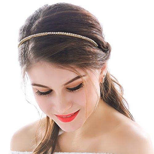 aukmla bandas de pelo diadema boda dorado con diamantes de imitación Simple diario de moda nupcial para las mujeres y las niñas