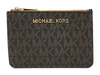 Michael Kors Jet Set Travel Small Top Zip Coin Pouch with ID Holder - PVC Coated Twill  Brown & Acorn