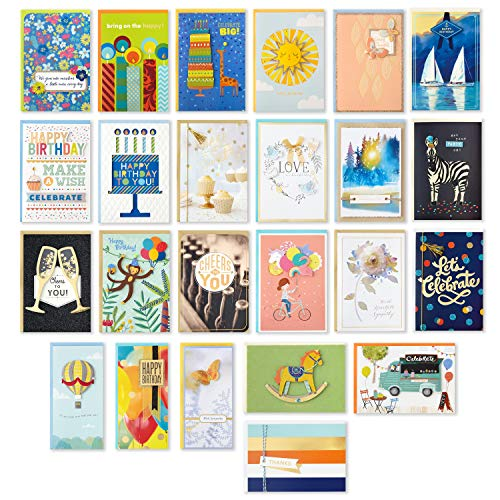 Hallmark Pack of 24 Handmade Assorted Boxed Greeting Cards, Herringbone Pattern—Birthday Cards, Baby Shower Cards, Wedding Cards, Sympathy Cards, Thinking of You Cards, Thank You Cards
