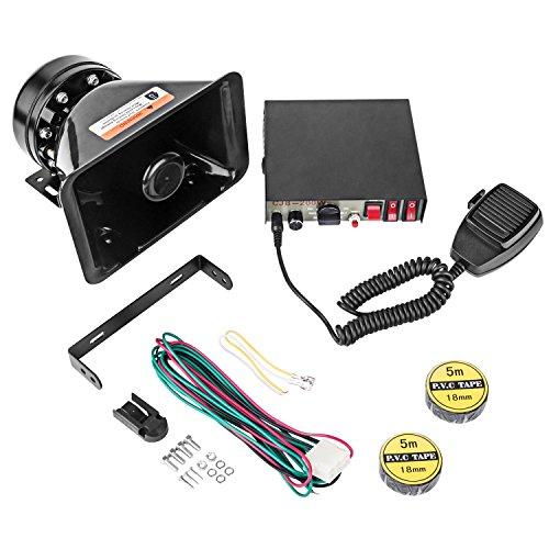 YHAAVALE CJB200P Amplifier Police Siren & Black Plastic Square Speaker,DC12V 200W 9 Tones Wired Handheld Microphone Loudspeaker Emergency Siren Electronic PA System