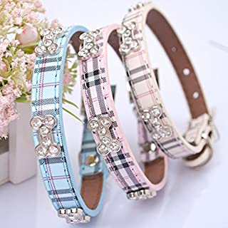 Lushpetz Tartan Plaid Dog Collar with Rhinestone Bones Available in Small, Medium & Large Sizes Pink Blue and Beige