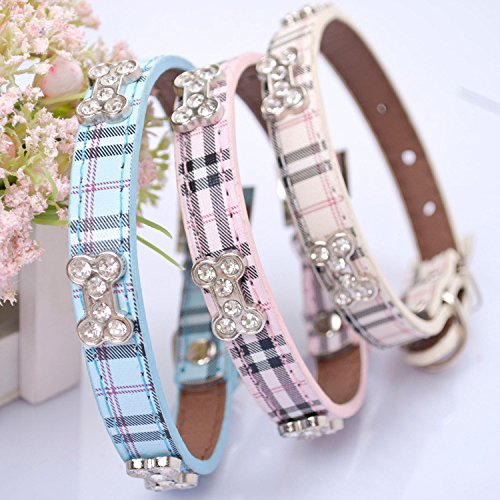 Lushpetz Tartan Plaid Dog Collar with Rhinestone Bones Available in Small, Medium & Large Sizes Pink Blue and Beige (Large, Beige)