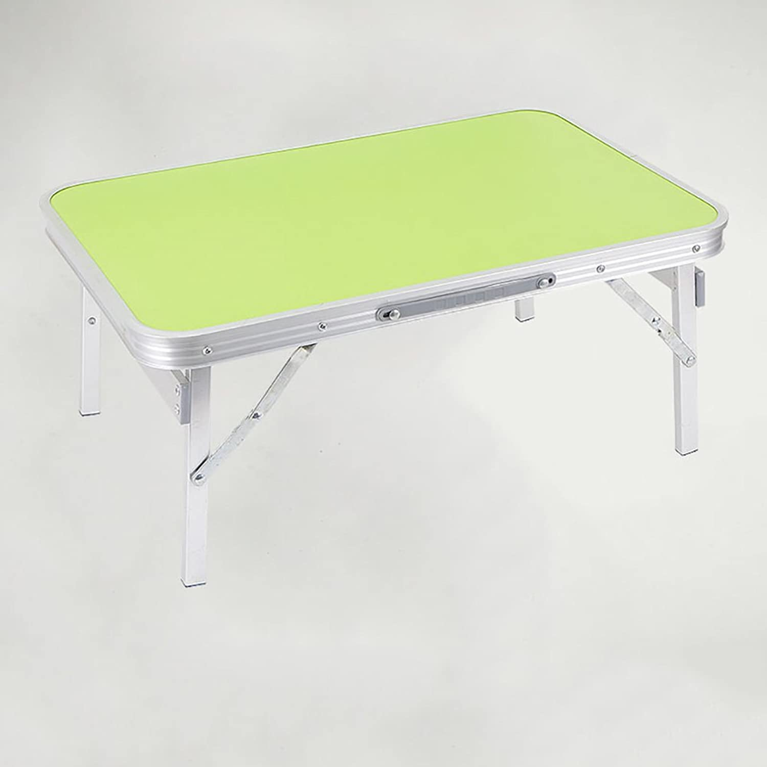 TY BEI Small Wooden Folding Table - Computer Desk - Camping with Handles and 4 Foot Portable Square Dining Table   (color   Green, Size   60  40  25cm)