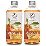 Ricarica per Diffusore Arancione 2x500ml - Aromaterapico con Olio Essenziale di Arancia - Fragranza per Casa - Deodorante per Ambienti - Diffusore Profumato - Aroma di Arancia