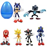 PARK AVE 6 Sonic Hedgehog Figures with Jumbo Egg Storage, 1.5-2.5' Tall Mini Figure Toys for Kids Cupcake Cake Toppers Party Favor Decoration