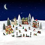Charmed By Dragons 29 Piece Christmas Village Collection with Houses Figurines Trees with Snowy White Glitter Cotton Drape 29 Piece Set