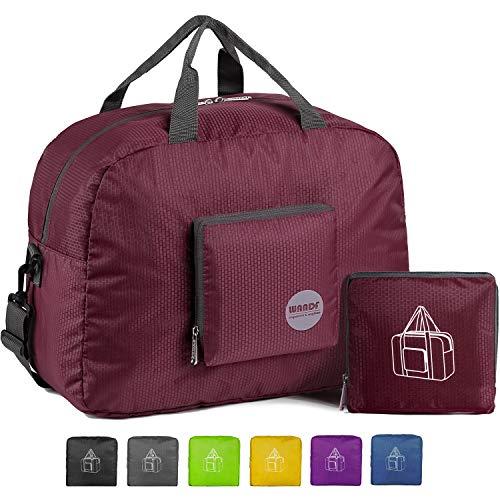 Wandf Leichter Faltbare Reise-Gepäck Handgepäck Duffel Taschen Übernachtung Taschen/Sporttasche für Reisen Sport Gym Urlaub Weekender handgepaeck (Weinrot 25L)