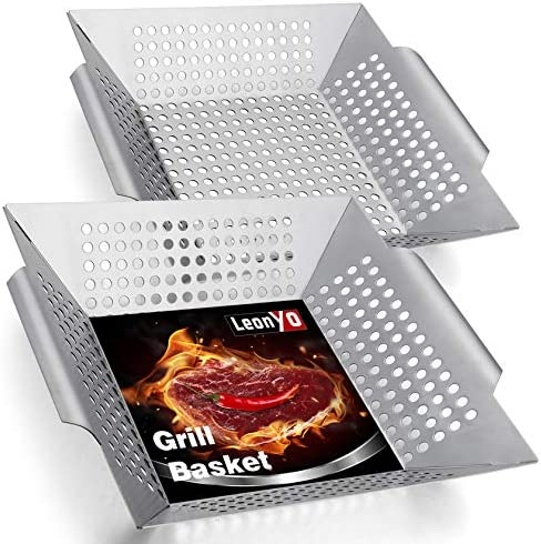 Leonyo 12 Inch Grill Basket 2 Pack Heavy Duty BBQ Grilling Basket for Vegetables Meat Fish Shrimp product image