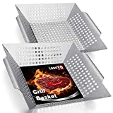 1Leonyo 2 Pack Large Grill Basket, Heavy Duty BBQ Grilling Basket for Vegetables Meat Fish Shrimp, Stainless Steel Grilling Accessories for All Grills & Smokers & Veggie