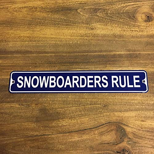 BDTS Snowboarders Regel Metal Street Sign Snowboard Sneeuw Colorado Utah Pow Shop Outdoor Indoor Street Sign 4x16 inches