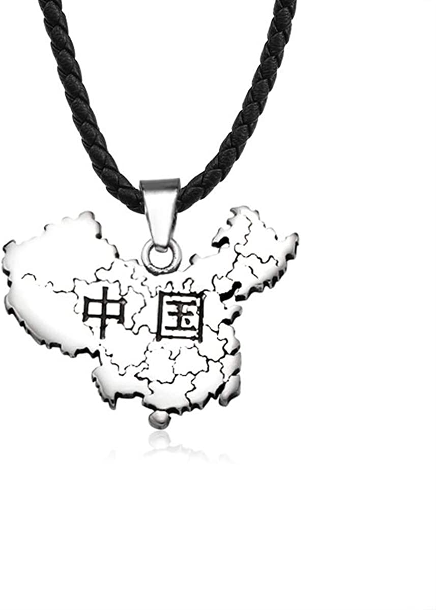 TAOYATAO Map of China Titanium Steel Necklace Personalized Collar Necklace Accessories Gothic Punk Style Jewelry Collection Pendant Necklace for Men and Women
